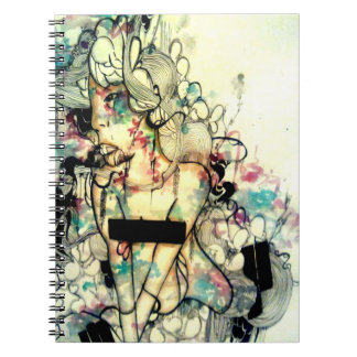 Contemporary emotional watercolor portrait art spiral note book