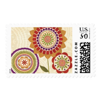 Contemporary Fall Flowers Postage