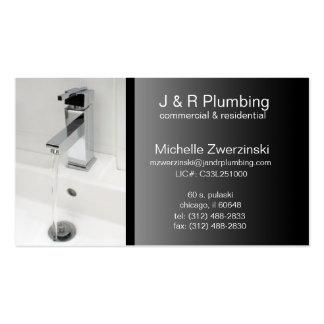contemporary faucet plumbing business card