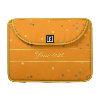 Contemporary Faux Gold Foil Confetti Orange MacBook Pro Sleeve