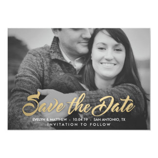 Contemporary Faux Gold Save the Date Announcements