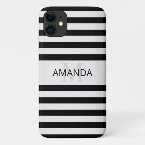 Contemporary Faux Silver Ombre Stripes & Black Phone Case