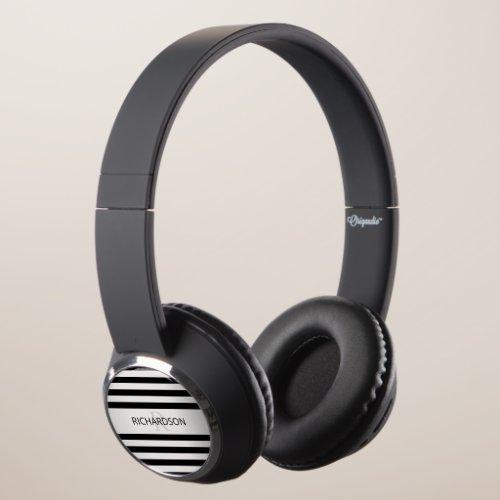 Contemporary Faux Silver Ombre Stripes & Black Headphones