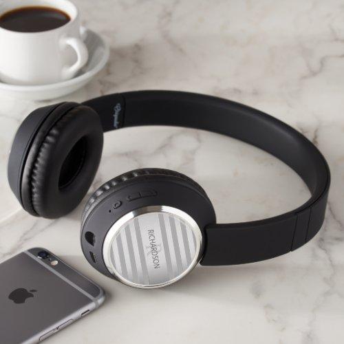 Contemporary Faux Silver Ombre Stripes & Grey Headphones