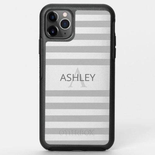 Contemporary Faux Silver Ombre Stripes & Grey Phone Case