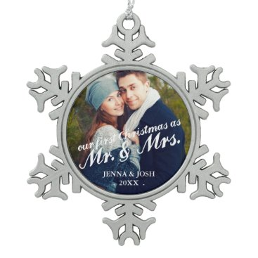 Christmas Themed Contemporary First Christmas Mr. & Mrs. Photo Snowflake Pewter Christmas Ornament