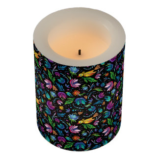Contemporary Floral and Birds LED Flameless Candle