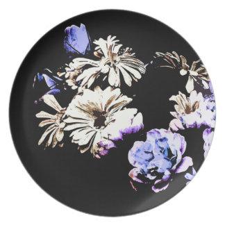 Contemporary Floral Medley Melamine Flower Plate