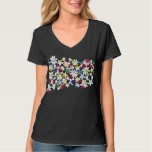 Contemporary Floral Pattern T-shirt