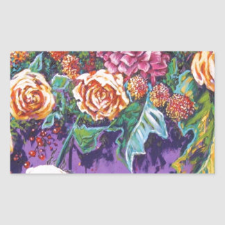 contemporary floral yellow and purple rectangle stickers