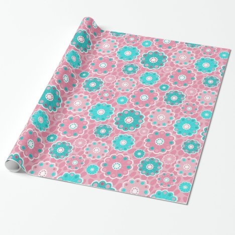 Contemporary fresh pink and aqua floral wrapping paper