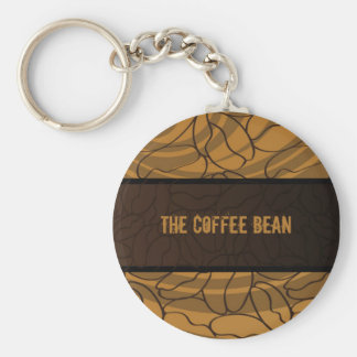 Contemporary, Fun & Colorful Coffee Bean Keychain. Basic Round Button Keychain