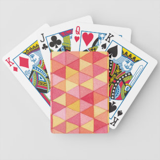 Contemporary Geometric Watercolor Triangle Pattern Bicycle Playing Cards