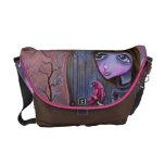 Contemporary Girl and Cardinal Art Handbag Messenger Bags