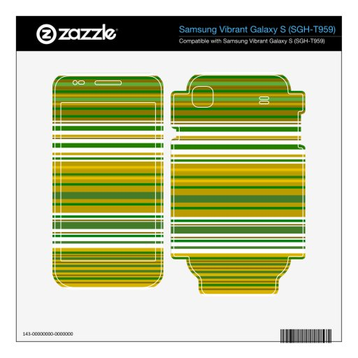 Contemporary gold and green stripes skin for samsung vibrant