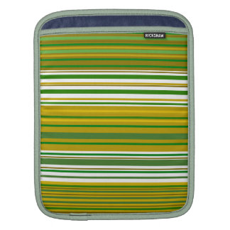 Contemporary gold and green stripes sleeve for iPads