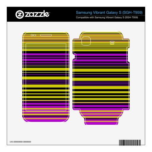 Contemporary gold black and purple stripes samsung vibrant skin