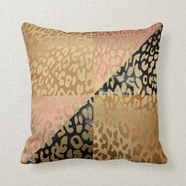 Beach Themed Contemporary Gold Glam Leopard Animal Skin Throw Pillow