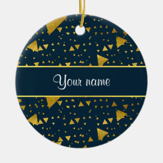 Contemporary Gold Triangles on Navy Blue Ceramic Ornament