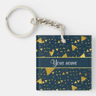 Contemporary Gold Triangles on Navy Blue Keychain