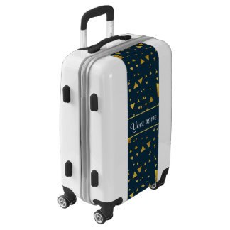 Contemporary Gold Triangles on Navy Blue Luggage