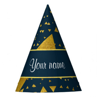 Contemporary Gold Triangles on Navy Blue Party Hat