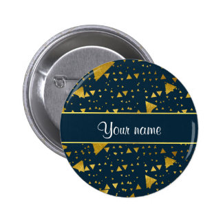 Contemporary Gold Triangles on Navy Blue Pinback Button
