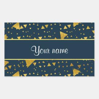 Contemporary Gold Triangles on Navy Blue Rectangular Sticker