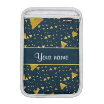 Contemporary Gold Triangles on Navy Blue Sleeve For iPad Mini