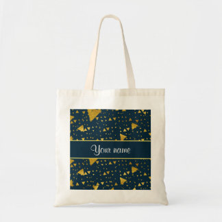 Contemporary Gold Triangles on Navy Blue Tote Bag
