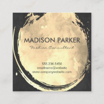 Contemporary Gold Watercolor Brushed Square Business Card