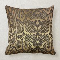 Contemporary Golden Black Python Snake Skin Throw Pillow