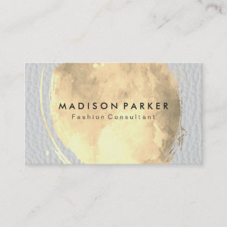 Contemporary Golden Water Color White Leather Business Card