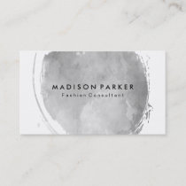 Contemporary Gray Watercolor Brushed Business Card