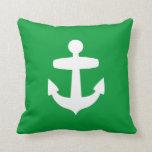 Contemporary Green Anchor Pillow