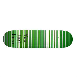 Contemporary green and white stripes custom skateboard
