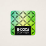 Contemporary Green Glamour Square Business Card