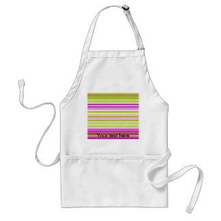 Contemporary green white and pink stripes adult apron