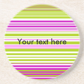 Contemporary green white and pink stripes coaster
