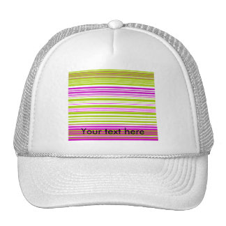 Contemporary green white and pink stripes mesh hats