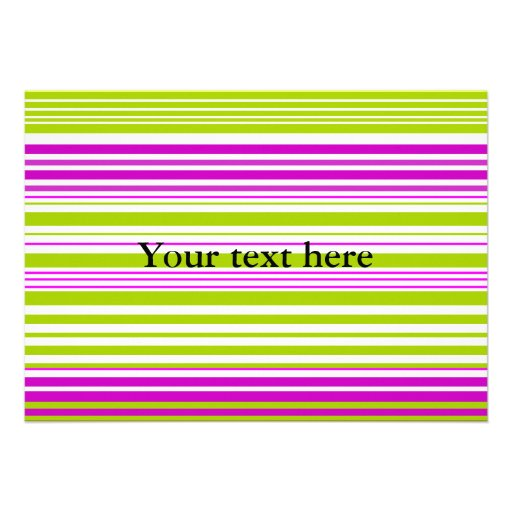 Contemporary green white and pink stripes invitation