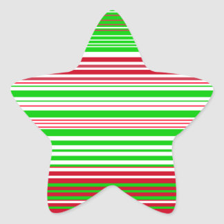Contemporary green white and red stripes star sticker