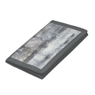 Contemporary Grey Painting Trifold Wallets