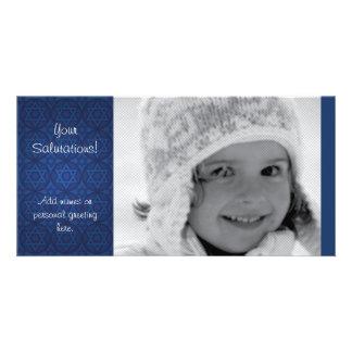 Contemporary Hanukkah Photocard Customized Photo Card