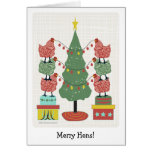 contemporary hens decorating tree with eggs v2 greeting card