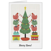 contemporary hens decorating tree with eggs v2 card