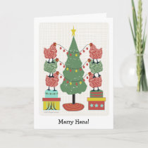 contemporary hens decorating tree with eggs v2 holiday card