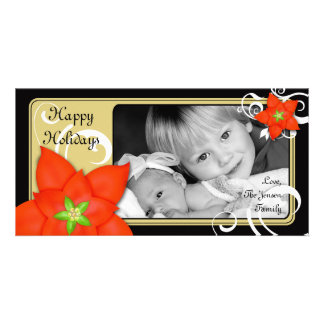 Contemporary Holiday Poinsettia Personalized Photo Card