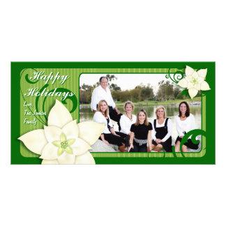 Contemporary Holiday Poinsettia Photo Greeting Card