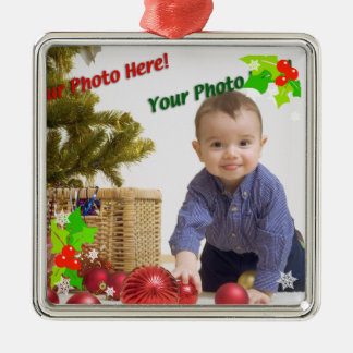 Contemporary Holly Christmas Photo Ornament